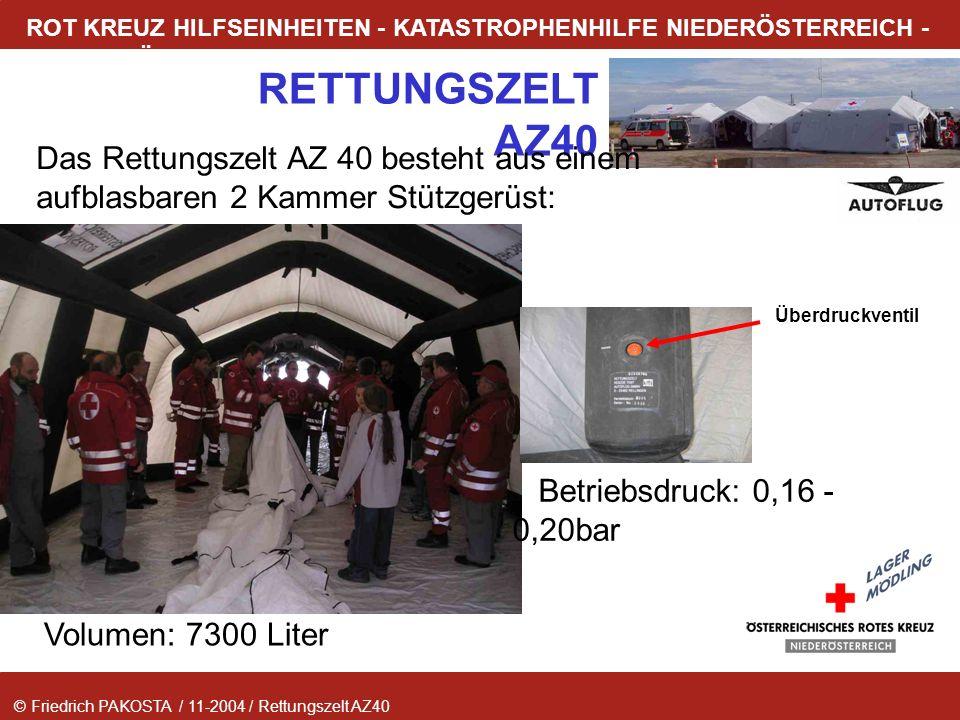 Das Rettungszelt AZ 40 besteht aus einem aufblasbaren 2 Kammer Stützgerüst: