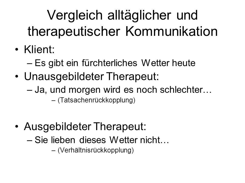Vergleich alltäglicher und therapeutischer Kommunikation