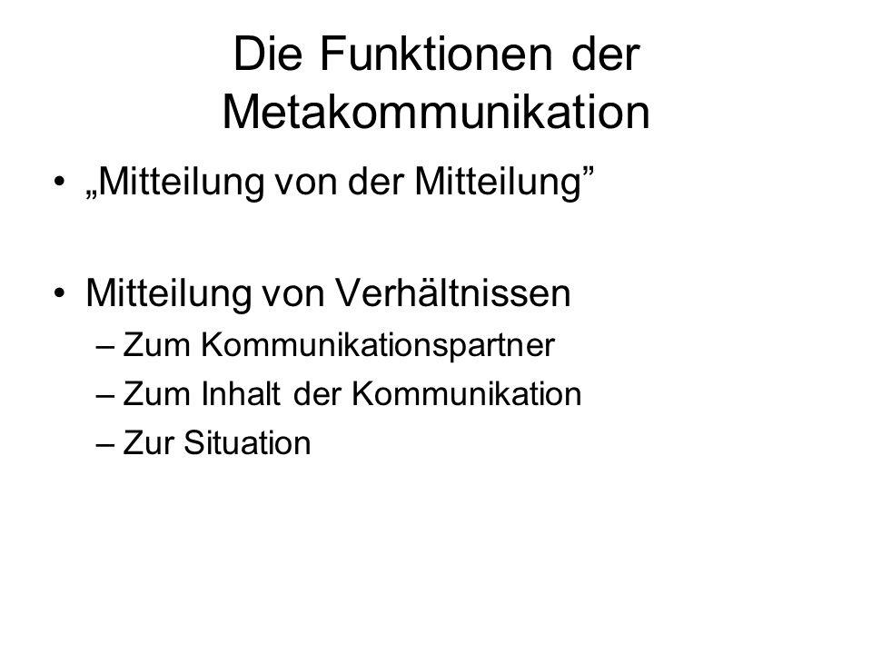 Die Funktionen der Metakommunikation