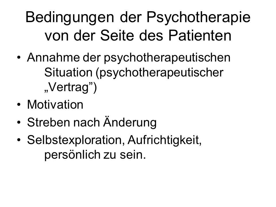 Bedingungen der Psychotherapie von der Seite des Patienten