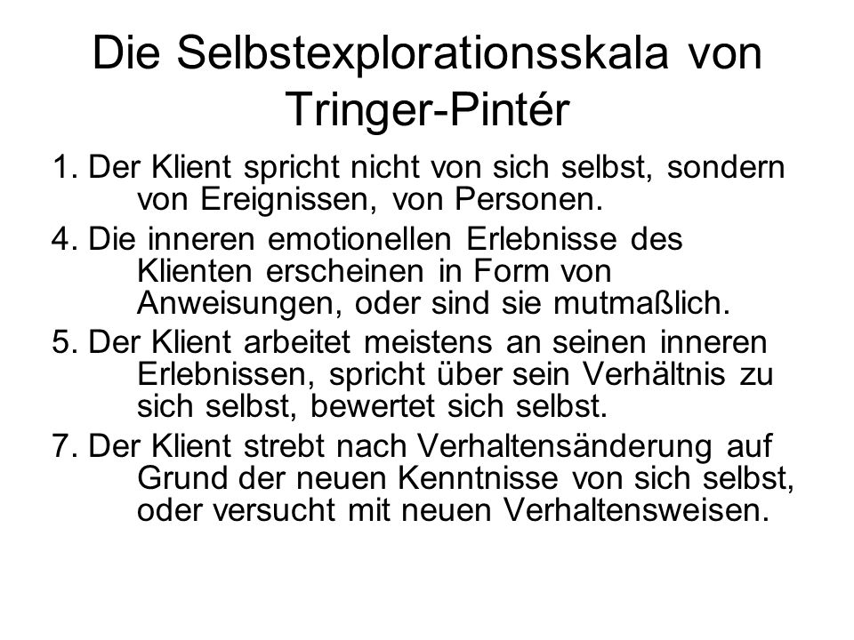 Die Selbstexplorationsskala von Tringer-Pintér
