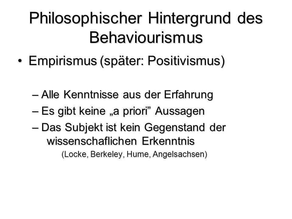 Philosophischer Hintergrund des Behaviourismus