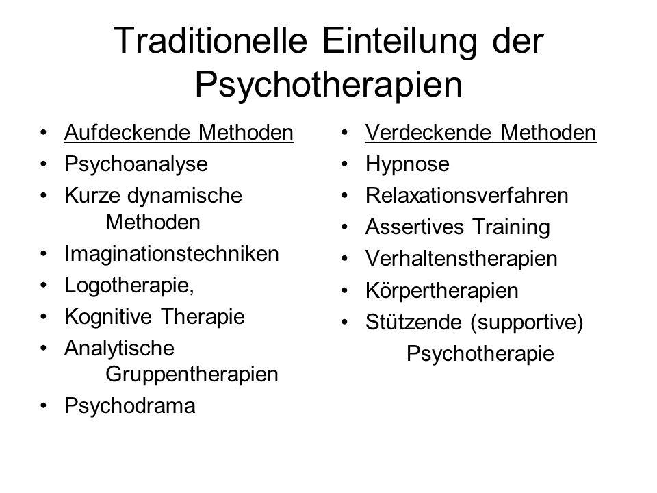 Traditionelle Einteilung der Psychotherapien