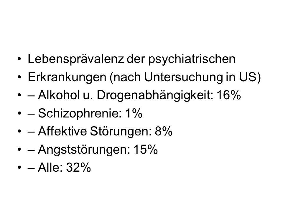 Lebensprävalenz der psychiatrischen