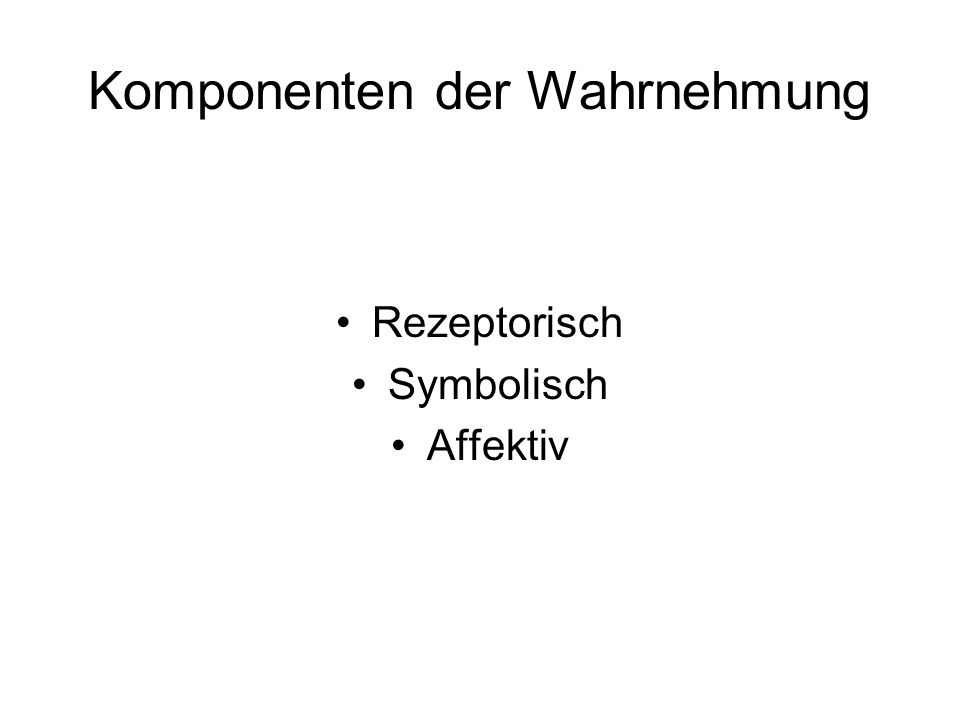 Komponenten der Wahrnehmung