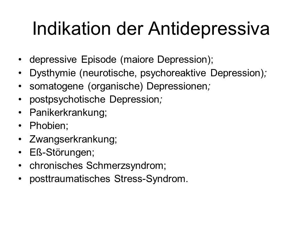 Indikation der Antidepressiva