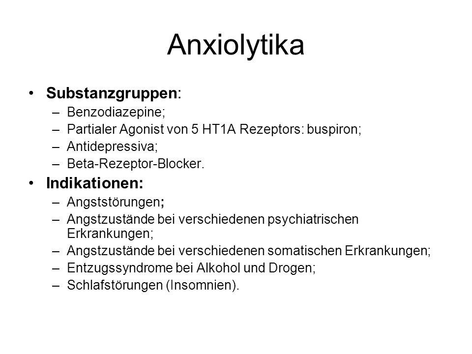 Anxiolytika Substanzgruppen: Indikationen: Benzodiazepine;