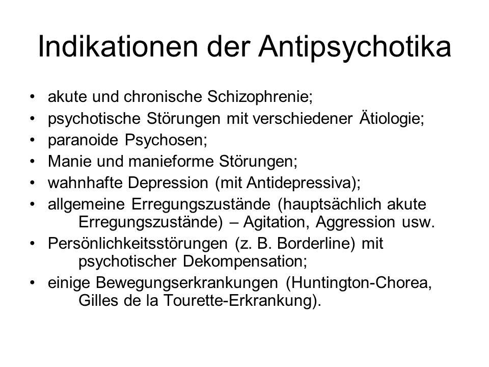 Indikationen der Antipsychotika