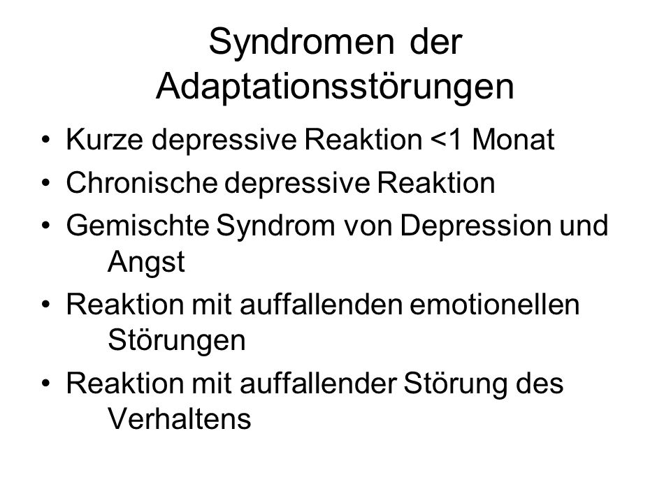 Syndromen der Adaptationsstörungen