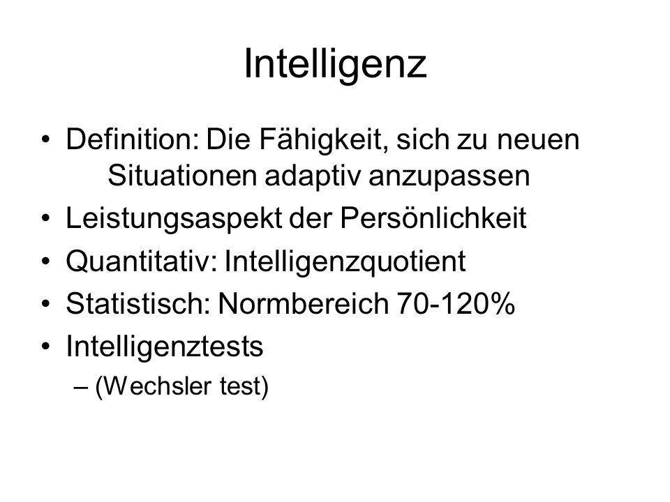 Intelligenz Definition: Die Fähigkeit, sich zu neuen Situationen adaptiv anzupassen. Leistungsaspekt der Persönlichkeit.