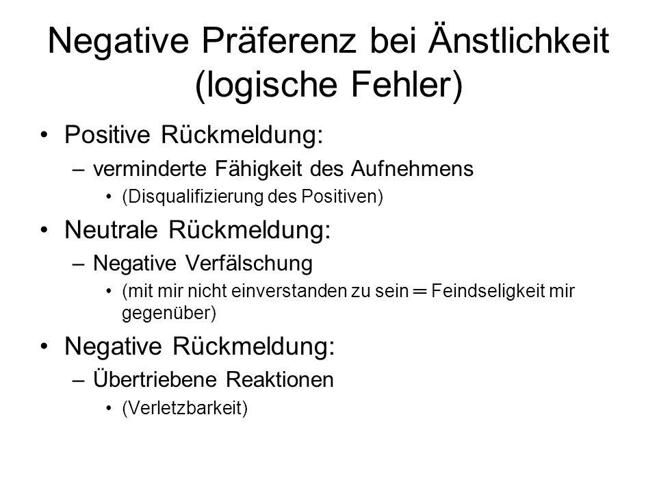 Negative Präferenz bei Änstlichkeit (logische Fehler)