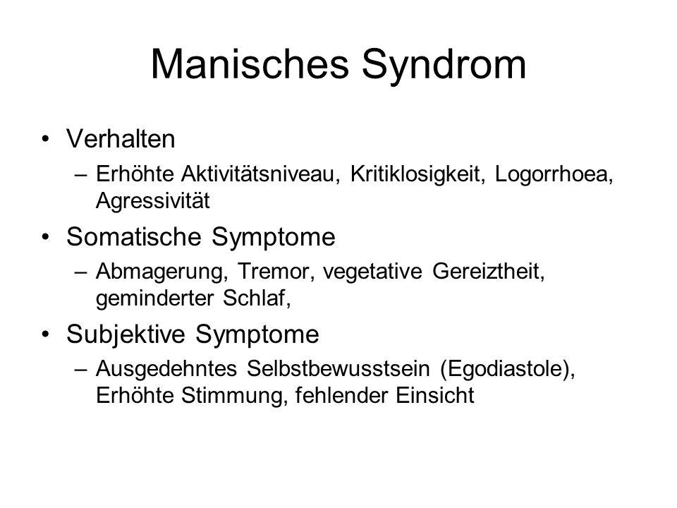 Manisches Syndrom Verhalten Somatische Symptome Subjektive Symptome