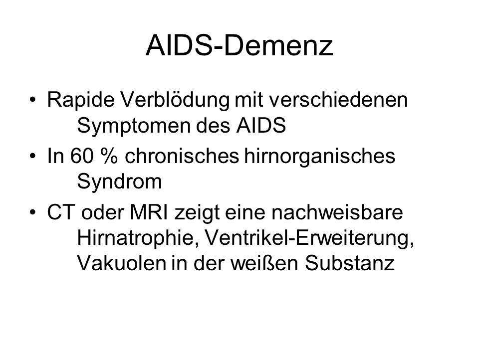 AIDS-Demenz Rapide Verblödung mit verschiedenen Symptomen des AIDS