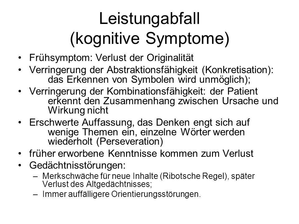 Leistungabfall (kognitive Symptome)