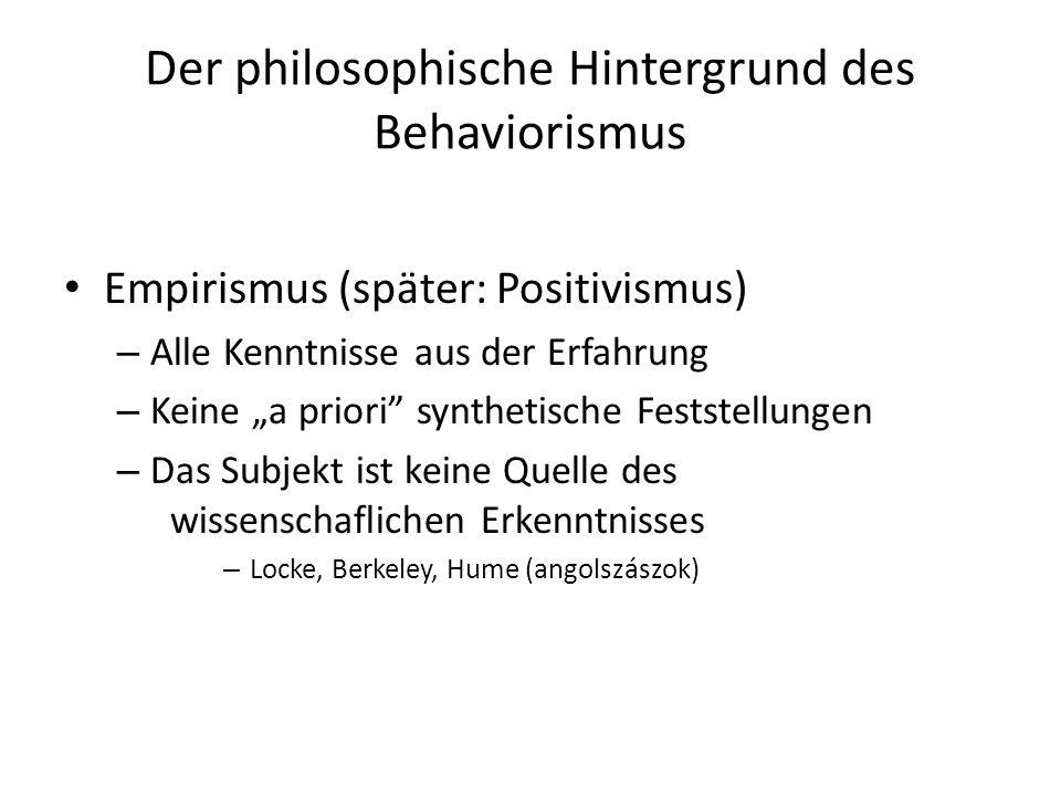 Der philosophische Hintergrund des Behaviorismus