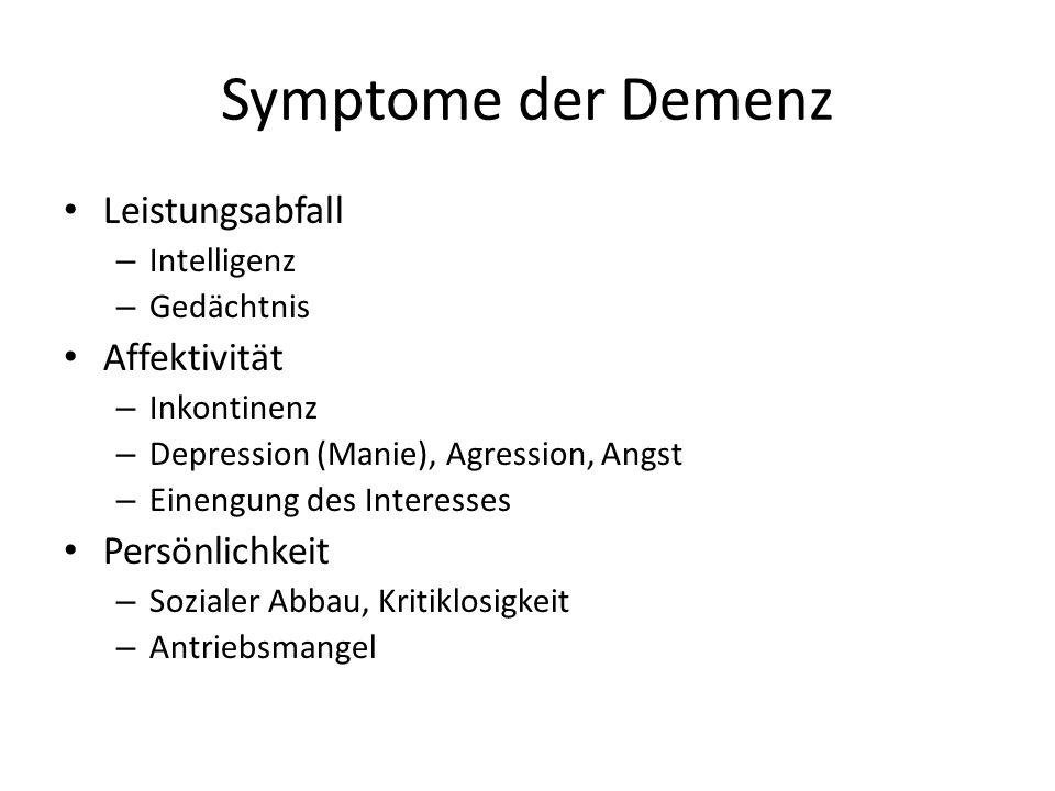 Symptome der Demenz Leistungsabfall Affektivität Persönlichkeit
