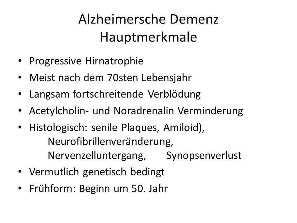 Alzheimersche Demenz Hauptmerkmale