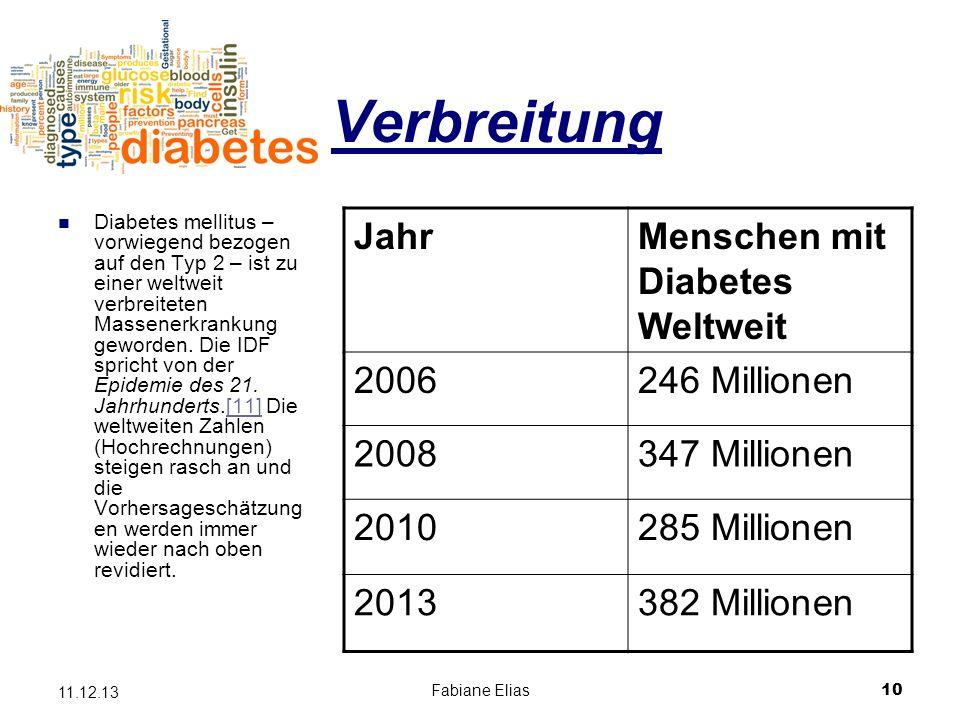 Verbreitung Jahr Menschen mit Diabetes Weltweit 2006 246 Millionen