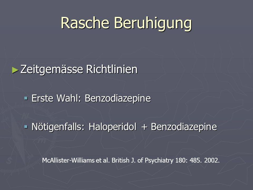 Rasche Beruhigung Zeitgemässe Richtlinien Erste Wahl: Benzodiazepine