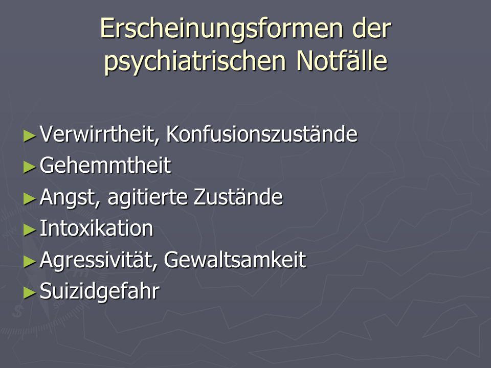 Erscheinungsformen der psychiatrischen Notfälle