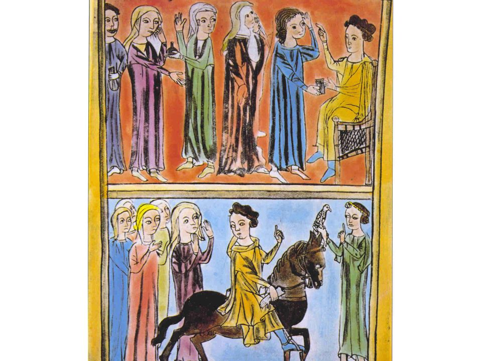 XIII. századi utazó orvos Európában. A betegek sorban állnak