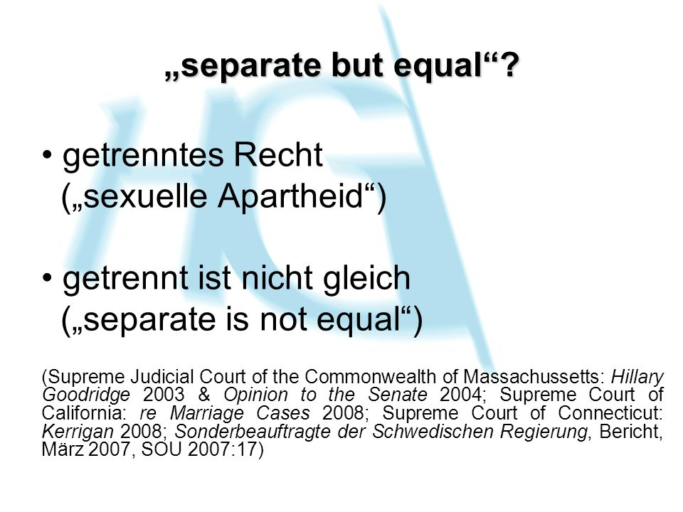 """(""""sexuelle Apartheid ) getrennt ist nicht gleich"""