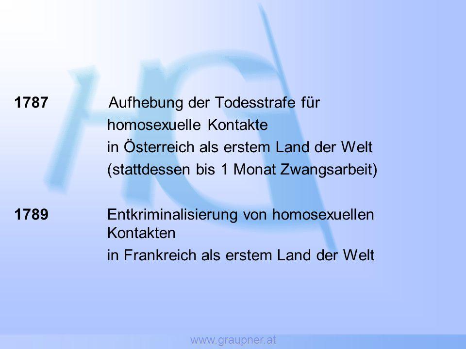1787 Aufhebung der Todesstrafe für homosexuelle Kontakte