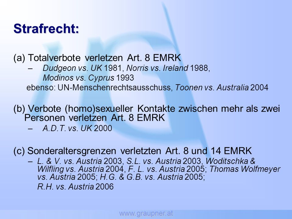 Strafrecht: (a) Totalverbote verletzen Art. 8 EMRK