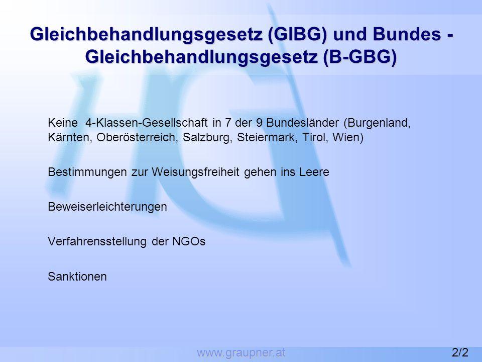 www.graupner.at Gleichbehandlungsgesetz (GlBG) und Bundes - Gleichbehandlungsgesetz (B-GBG)