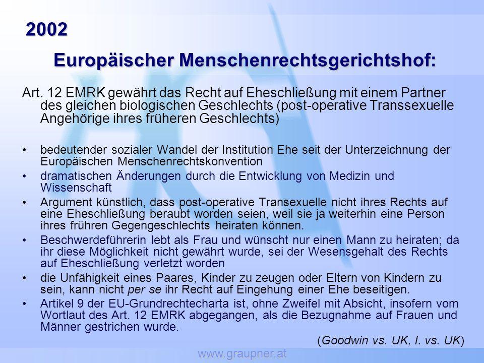 2002 Europäischer Menschenrechtsgerichtshof: