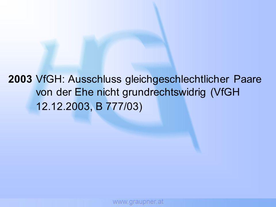 www.graupner.at 2003 VfGH: Ausschluss gleichgeschlechtlicher Paare von der Ehe nicht grundrechtswidrig (VfGH 12.12.2003, B 777/03)