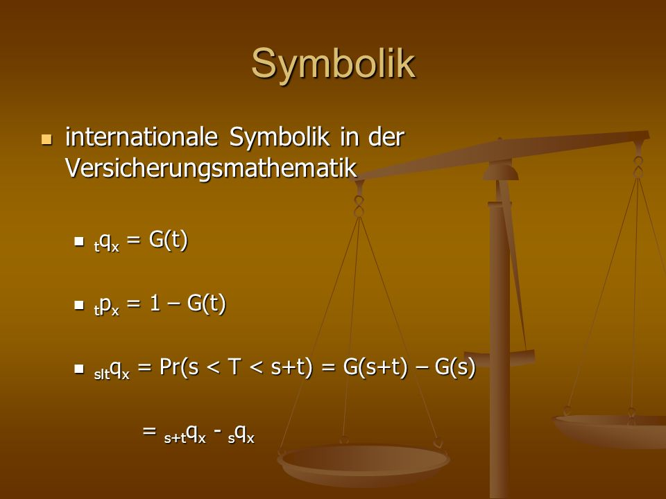 Symbolik internationale Symbolik in der Versicherungsmathematik