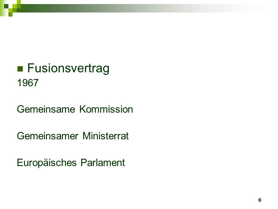 Fusionsvertrag 1967 Gemeinsame Kommission Gemeinsamer Ministerrat