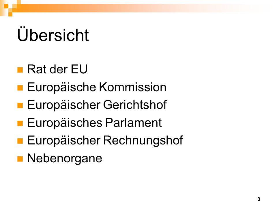 Übersicht Rat der EU Europäische Kommission Europäischer Gerichtshof
