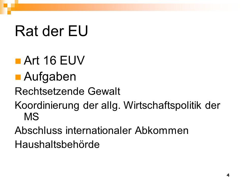 Rat der EU Art 16 EUV Aufgaben Rechtsetzende Gewalt