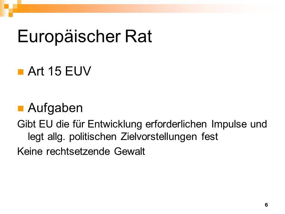 Europäischer Rat Art 15 EUV Aufgaben
