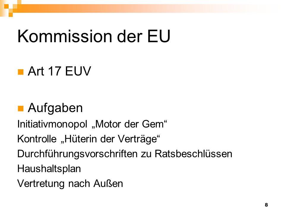 """Kommission der EU Art 17 EUV Aufgaben Initiativmonopol """"Motor der Gem"""