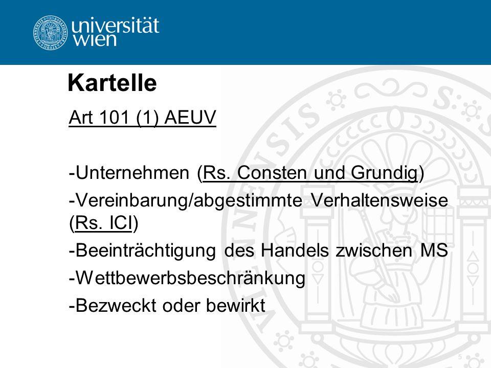 Kartelle Art 101 (1) AEUV Unternehmen (Rs. Consten und Grundig)