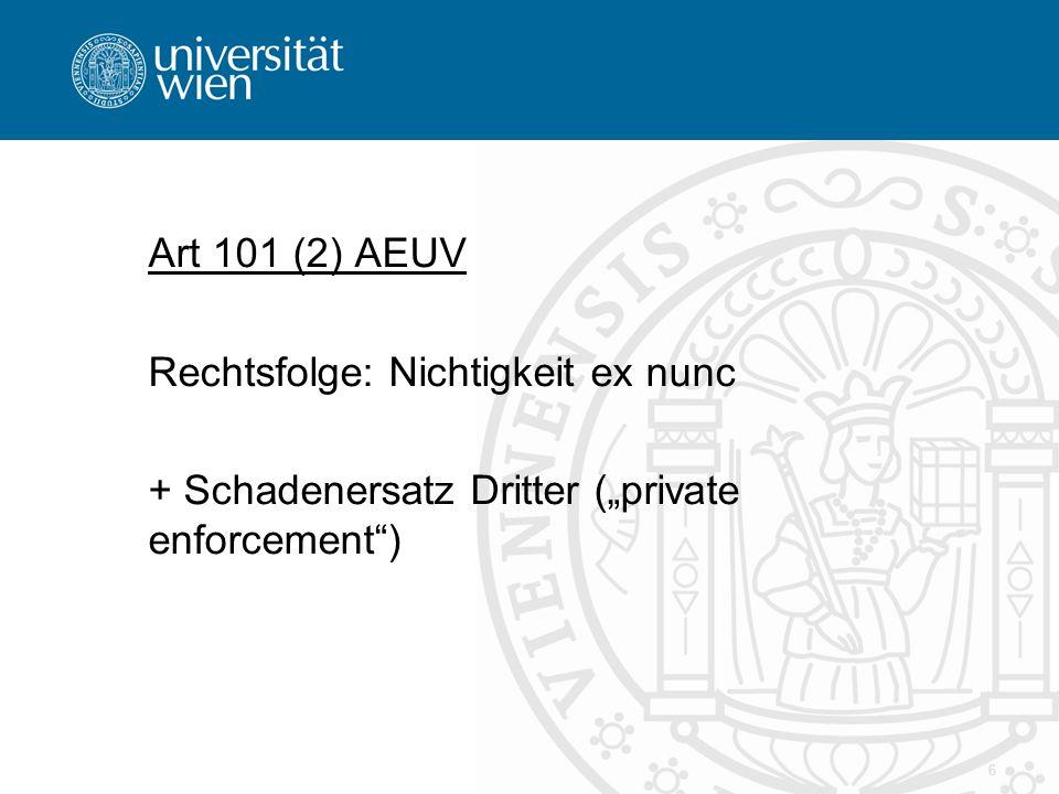 """Art 101 (2) AEUV Rechtsfolge: Nichtigkeit ex nunc + Schadenersatz Dritter (""""private enforcement )"""