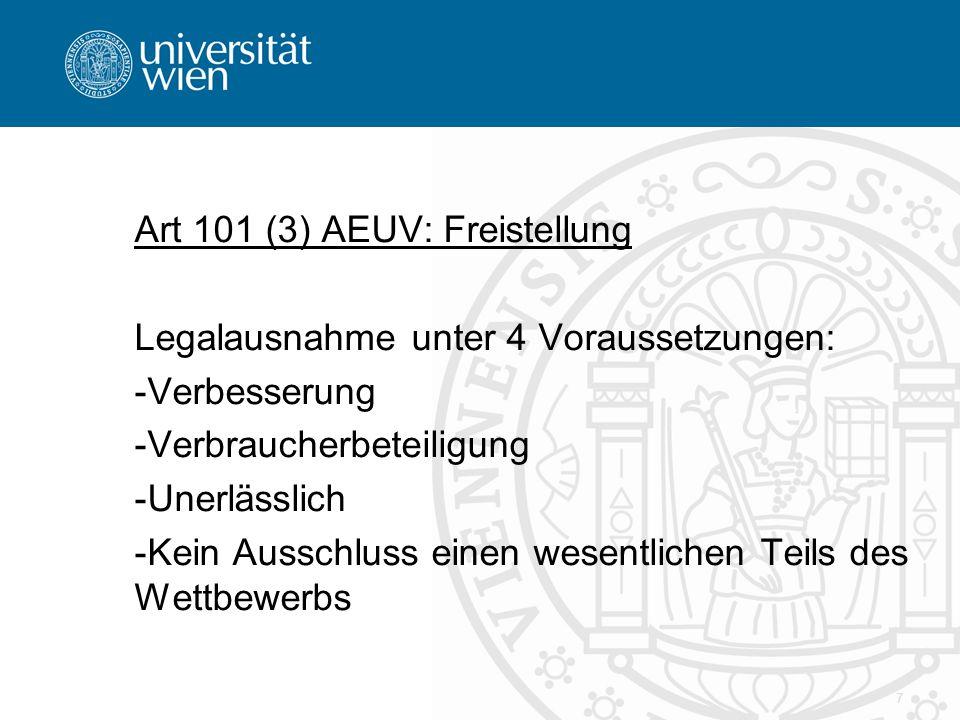 Art 101 (3) AEUV: Freistellung