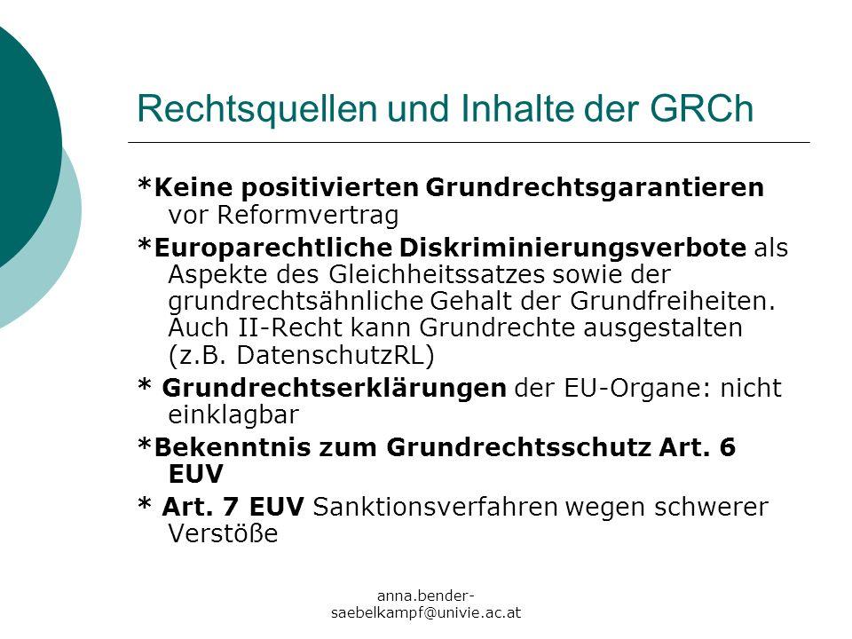 Rechtsquellen und Inhalte der GRCh