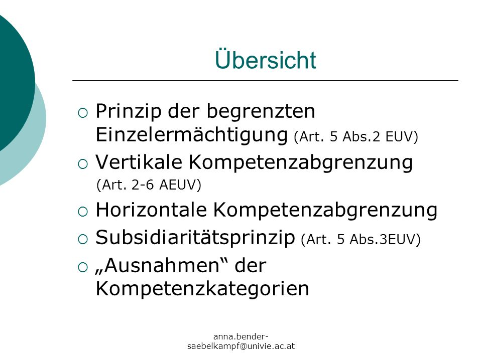 Übersicht Prinzip der begrenzten Einzelermächtigung (Art. 5 Abs.2 EUV)