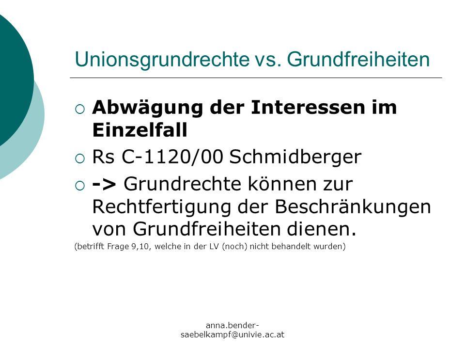 Unionsgrundrechte vs. Grundfreiheiten