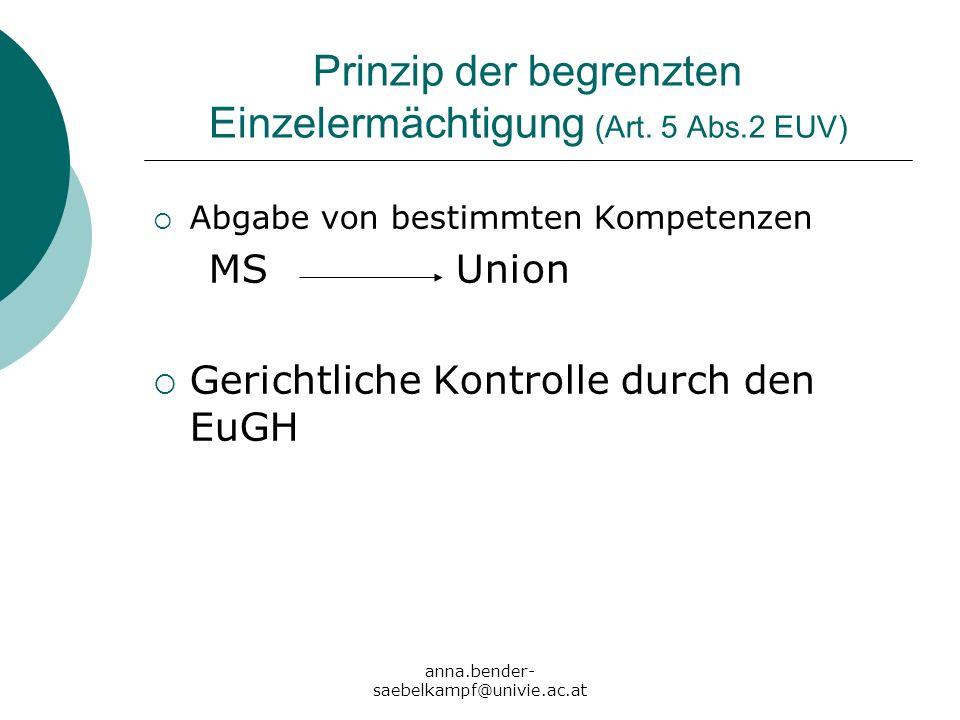 Prinzip der begrenzten Einzelermächtigung (Art. 5 Abs.2 EUV)