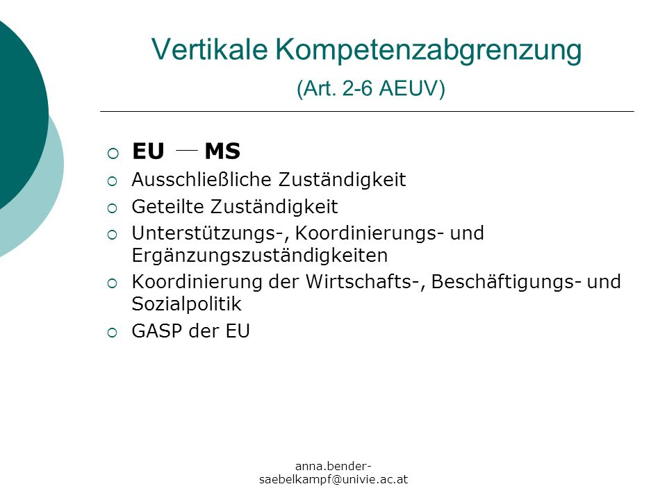 Vertikale Kompetenzabgrenzung (Art. 2-6 AEUV)