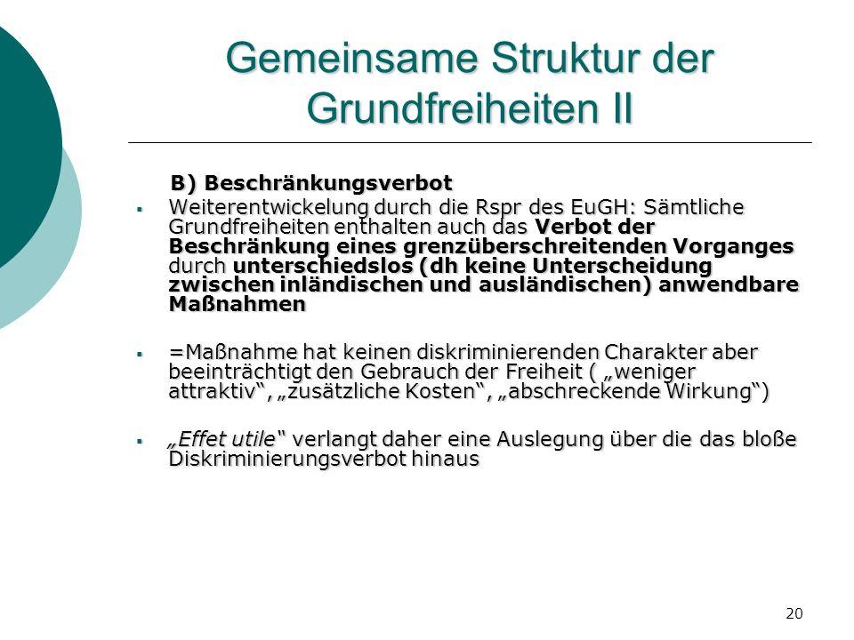 Gemeinsame Struktur der Grundfreiheiten II
