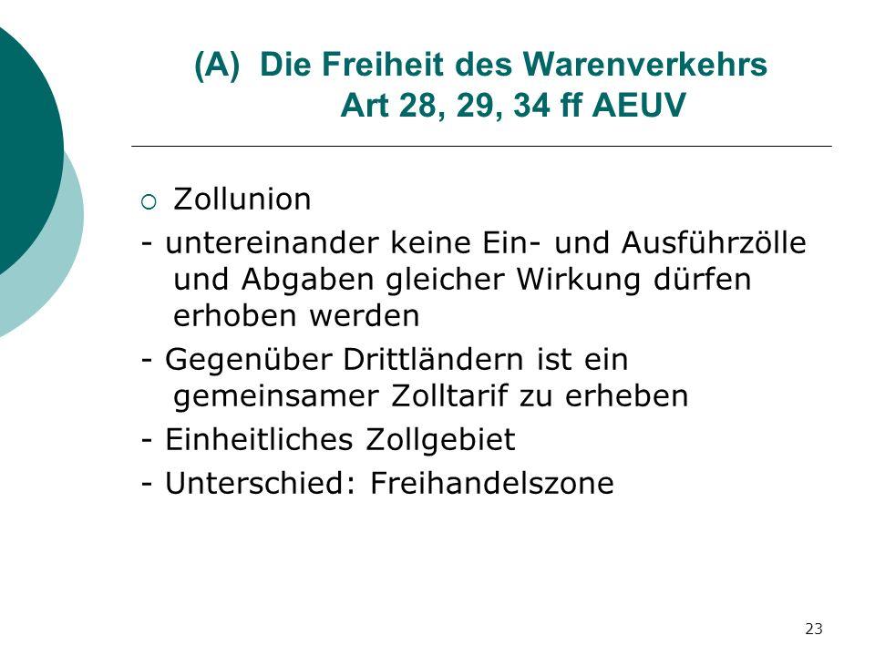 Die Freiheit des Warenverkehrs Art 28, 29, 34 ff AEUV