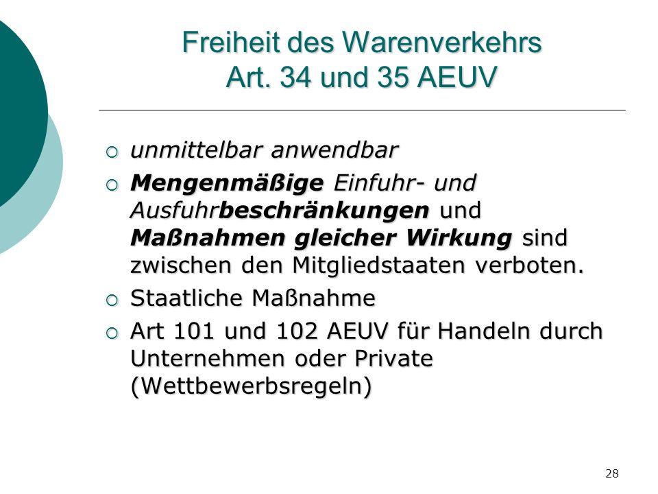 Freiheit des Warenverkehrs Art. 34 und 35 AEUV
