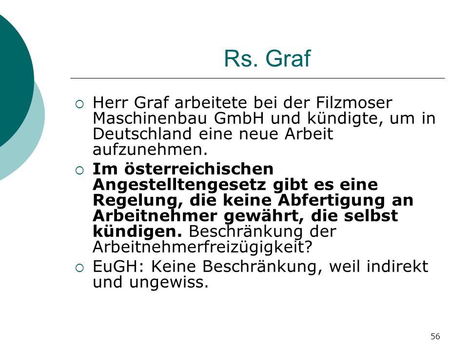 Rs. Graf Herr Graf arbeitete bei der Filzmoser Maschinenbau GmbH und kündigte, um in Deutschland eine neue Arbeit aufzunehmen.