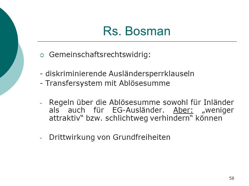 Rs. Bosman Gemeinschaftsrechtswidrig: